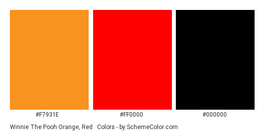 Winnie The Pooh Orange Red Black Color Scheme Palette Thumbnail F7931e