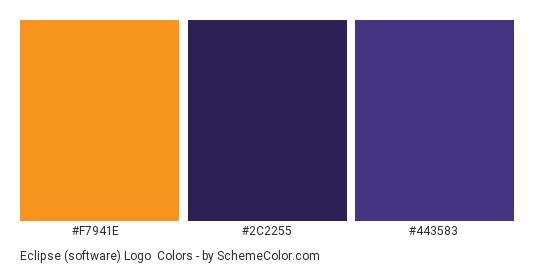 Eclipse (software) Logo - Color scheme palette thumbnail - #f7941e #2c2255 #443583