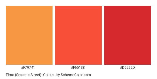Elmo (Sesame Street) - Color scheme palette thumbnail - #f79741 #f65138 #d6292d