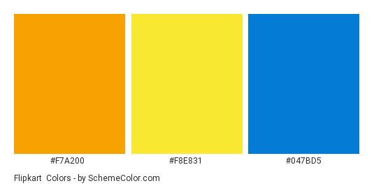 Flipkart - Color scheme palette thumbnail - #f7a200 #f8e831 #047bd5