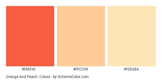 Orange and Peach - Color scheme palette thumbnail - #f85f41 #ffcc99 #fde6b6