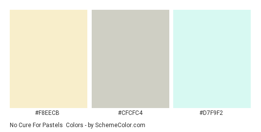 No Cure for Pastels - Color scheme palette thumbnail - #f8eecb #CFCFC4 #d7f9f2