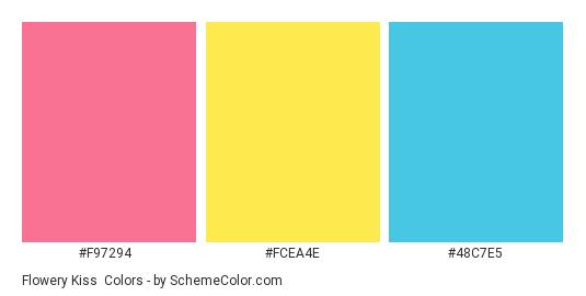 Flowery Kiss - Color scheme palette thumbnail - #f97294 #fcea4e #48c7e5