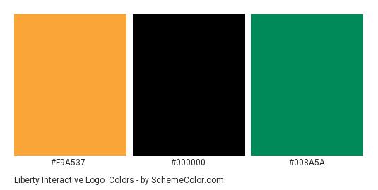 Liberty Interactive Logo - Color scheme palette thumbnail - #f9a537 #000000 #008a5a