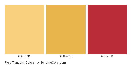 Fiery Tantrum - Color scheme palette thumbnail - #f9d07d #e8b44c #bb2c39
