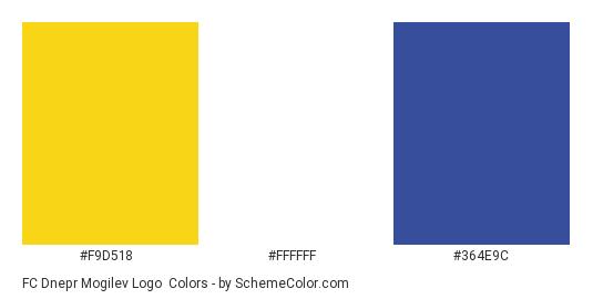 FC Dnepr Mogilev Logo - Color scheme palette thumbnail - #f9d518 #ffffff #364e9c