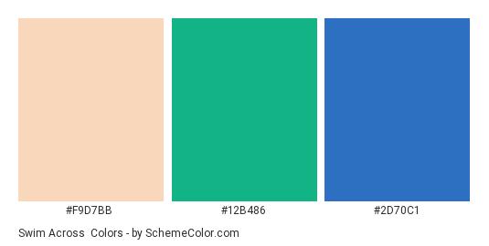 Swim Across - Color scheme palette thumbnail - #f9d7bb #12b486 #2d70c1