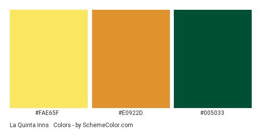 La Quinta Inns & Suites Logo - Color scheme palette thumbnail - #fae65f #e0922d #005033