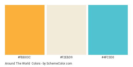 Around the World - Color scheme palette thumbnail - #fbb03c #f2ebd9 #4fc3d0