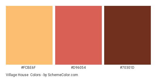 Village House - Color scheme palette thumbnail - #fcbe6f #d96054 #70301d
