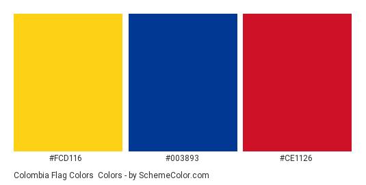 Colombia Flag Colors - Color scheme palette thumbnail - #fcd116 #003893 #ce1126