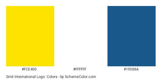 Smit International Logo - Color scheme palette thumbnail - #fce400 #ffffff #19588a