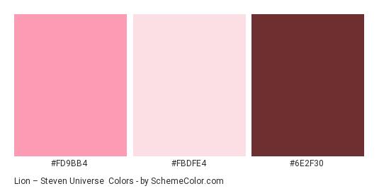 Lion – Steven Universe - Color scheme palette thumbnail - #fd9bb4 #fbdfe4 #6e2f30