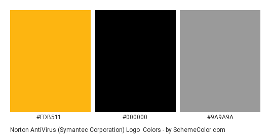 Norton AntiVirus (Symantec Corporation) Logo - Color scheme palette thumbnail - #fdb511 #000000 #9a9a9a