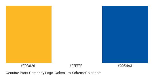 Genuine Parts Company Logo - Color scheme palette thumbnail - #fdb826 #ffffff #0054a3