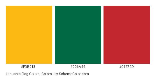 Lithuania Flag Colors - Color scheme palette thumbnail - #fdb913 #006a44 #c1272d