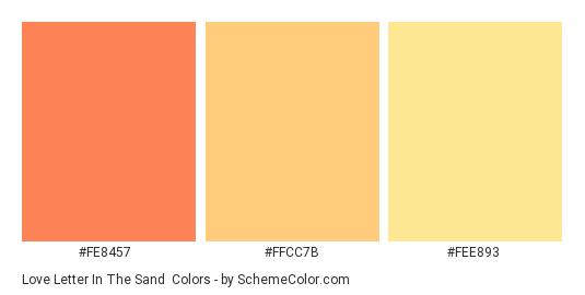 Love Letter In The Sand - Color scheme palette thumbnail - #fe8457 #ffcc7b #fee893