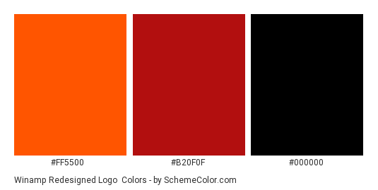 Winamp redesigned Logo - Color scheme palette thumbnail - #ff5500 #b20f0f #000000