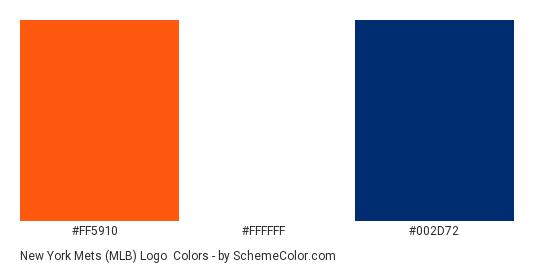 New York Mets (MLB) Logo - Color scheme palette thumbnail - #ff5910 #ffffff #002d72
