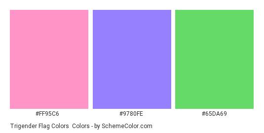 Trigender Flag Colors - Color scheme palette thumbnail - #ff95c6 #9780fe #65da69