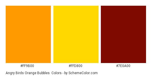 Angry Birds Orange Bubbles - Color scheme palette thumbnail - #ff9b00 #ffd800 #7e0a00