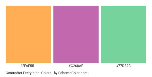 Contradict Everything - Color scheme palette thumbnail - #ffae55 #c268af #77d39c