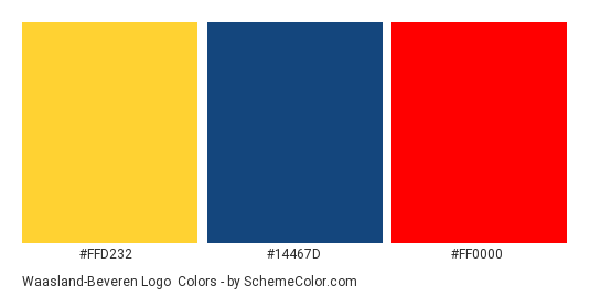 Waasland-Beveren Logo - Color scheme palette thumbnail - #ffd232 #14467d #ff0000