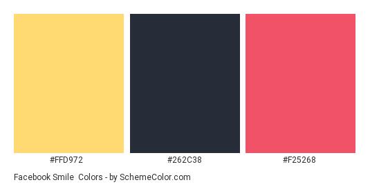 Facebook smile - Color scheme palette thumbnail - #ffd972 #262c38 #f25268