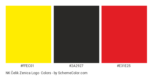 NK Čelik Zenica Logo - Color scheme palette thumbnail - #ffec01 #2a2927 #e31e25