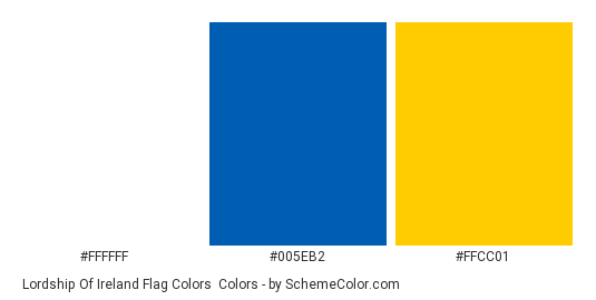 Lordship of Ireland Flag Colors - Color scheme palette thumbnail - #ffffff #005eb2 #ffcc01