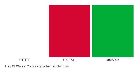 Flag of Wales - Color scheme palette thumbnail - #ffffff #d30731 #00ad36