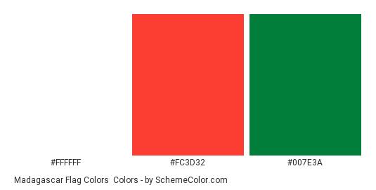 Madagascar Flag Colors - Color scheme palette thumbnail - #ffffff #fc3d32 #007e3a