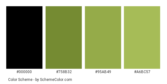 Broccoli Green - Color scheme palette thumbnail - #304100 #758b32 #95ab49 #a6bc57