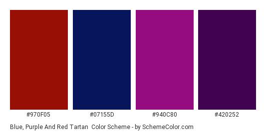 Blue Purple And Red Tartan Color Scheme Palette Thumbnail 970f05 07155d