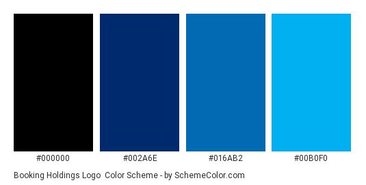 Booking Holdings Logo - Color scheme palette thumbnail - #000000 #002a6e #016ab2 #00b0f0