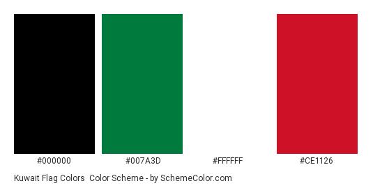 Kuwait Flag Colors - Color scheme palette thumbnail - #000000 #007a3d #ffffff #ce1126