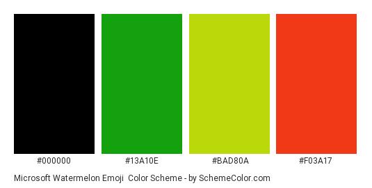 Microsoft Watermelon Emoji - Color scheme palette thumbnail - #000000 #13a10e #bad80a #f03a17
