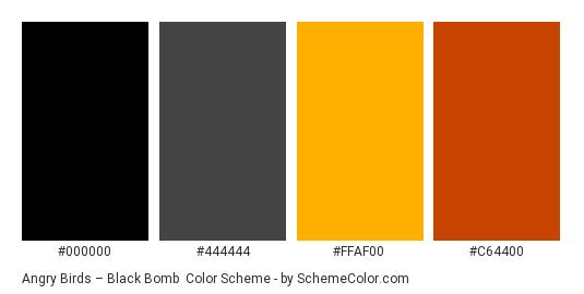 Angry Birds – Black Bomb - Color scheme palette thumbnail - #000000 #444444 #ffaf00 #c64400