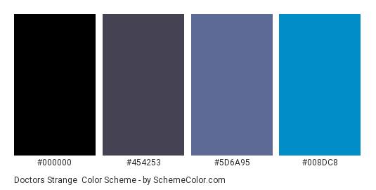 Doctors Strange - Color scheme palette thumbnail - #000000 #454253 #5D6A95 #008DC8