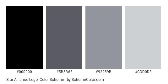 Star Alliance Logo - Color scheme palette thumbnail - #000000 #5b5b63 #92959b #cdd0d3