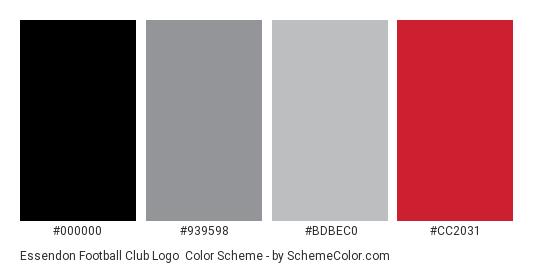 Essendon Football Club Logo - Color scheme palette thumbnail - #000000 #939598 #bdbec0 #cc2031