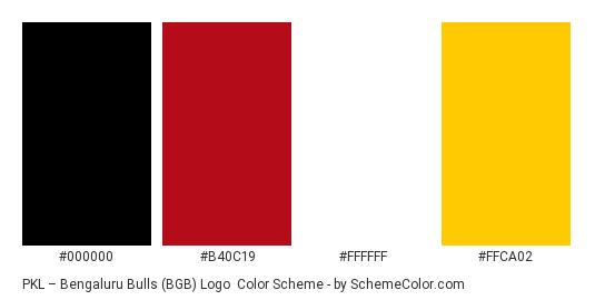 PKL – Bengaluru Bulls (BGB) Logo - Color scheme palette thumbnail - #000000 #B40C19 #FFFFFF #FFCA02