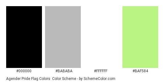 Agender Pride Flag Colors - Color scheme palette thumbnail - #000000 #BABABA #FFFFFF #BAF584