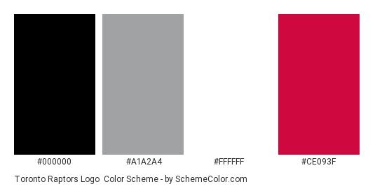 Toronto Raptors Logo - Color scheme palette thumbnail - #000000 #a1a2a4 #ffffff #ce093f