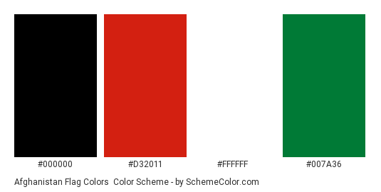 Afghanistan Flag Colors - Color scheme palette thumbnail - #000000 #d32011 #ffffff #007a36