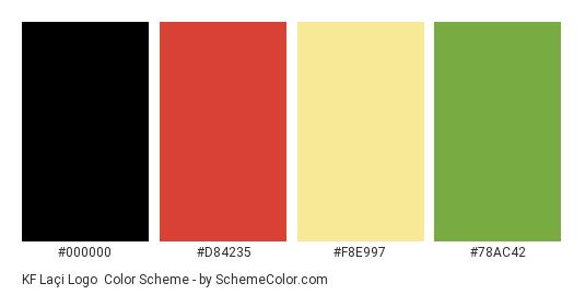 KF Laçi Logo - Color scheme palette thumbnail - #000000 #d84235 #f8e997 #78ac42