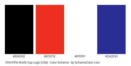 1994 FIFA World Cup Logo (USA) - Color scheme palette thumbnail - #000000 #ef2f1e #ffffff #2a2d93