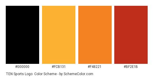 TEN Sports Logo - Color scheme palette thumbnail - #000000 #fcb131 #f48221 #bf2e1b