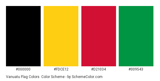 Vanuatu Flag Colors - Color scheme palette thumbnail - #000000 #fdce12 #d21034 #009543