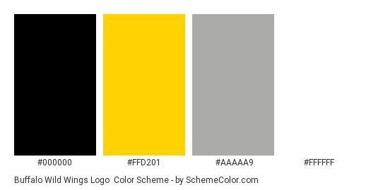 Buffalo Wild Wings Logo - Color scheme palette thumbnail - #000000 #ffd201 #aaaaa9 #ffffff